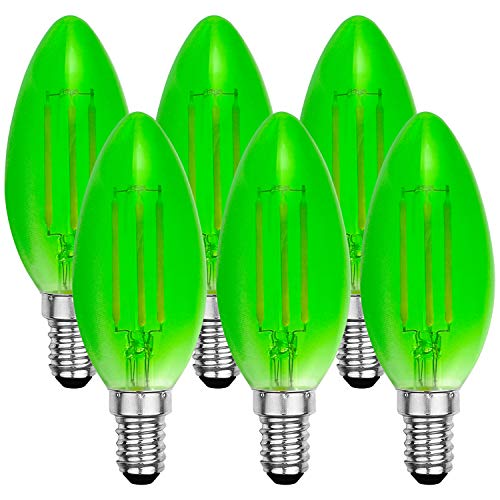 (Luxrite Colored LED Green Light Bulb, 4W, Dimmable LED Filament Bulb, UL Listed, E12 Candelabra Base - Front Porch Light, Holiday Lights, Event Lights (6 Pack))
