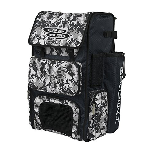 Boombah Superpack Bat Pack -Backpack Version (no Wheels) - Holds 2 Bats - Camo Black/Gray - for Baseball or Softball ()