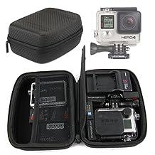 Jet Black Hard EVA Carry Case for GoPro Hero 5, Hero 4 (Black / Silver / Session), Go Pro 3, GoPro Hero 3+, Hero HD Head Cams (Helmet Hero, Motorsports Hero, Surf Hero), Toshiba Camileo X-Sports - by DURAGADGET