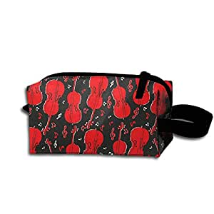 Red Violin Multifunction Storage Bag Buggy Bag Travel Cosmetic Bags Small Makeup Clutch Pouch Cosmetic And Toiletries Organizer Bag