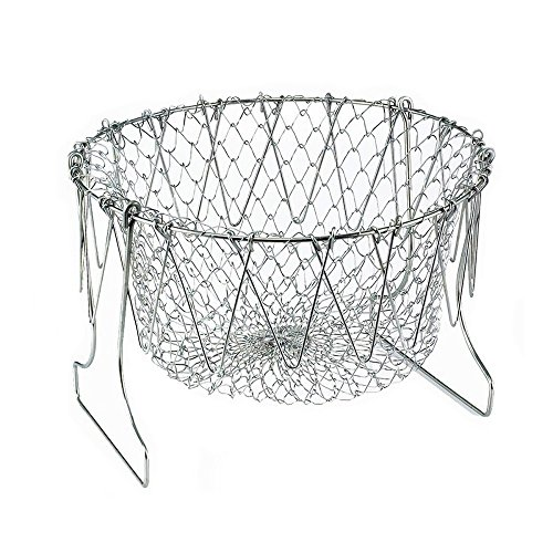Chef Basket, Stainless Steel Foldable Steam Rinse Strain Fry Basket Filter Basket Cooking Tool, Is a Good Helper for The Kitchen