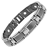 New Mens Gunmetal Titanium Magnetic Bracelet + Free Adjuster Gift Box