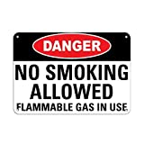 Danger No Smoking Allowed Flammable Gas In Use Flammable Aluminum Metal Sign 12 X 18 Inch
