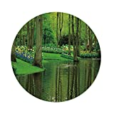 iPrint Polyester Round Tablecloth,Nature,Forest Lake Dutch Garden Pastoral Woodland Botany Flowerbed Picture Decorative,Fern Lime Green,Dining Room Kitchen Picnic Table Cloth Cover Outdoor Indo