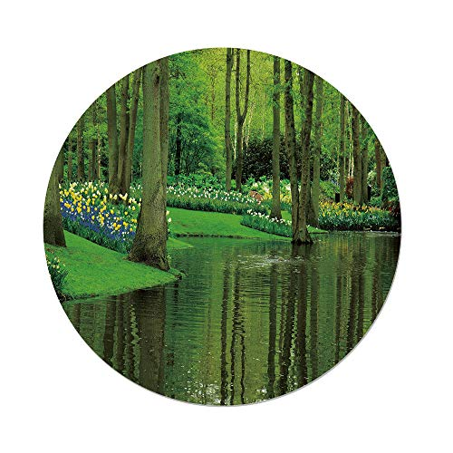 iPrint Polyester Round Tablecloth,Nature,Forest Lake Dutch Garden Pastoral Woodland Botany Flowerbed Picture Decorative,Fern Lime Green,Dining Room Kitchen Picnic Table Cloth Cover Outdoor Indo by iPrint