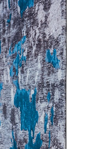 Mylife Rugs Bergamo Collection Contemporary Modern Non Slip (Non-Skid) Machine Washable Abstract Area Runner Rug (2'7x7'7, Blue - Grey)