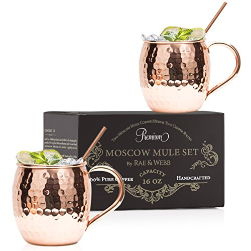 Copper Mugs ARTISAN HAMMERED Moscow Mule Set Of 2 With Straws - 100% Pure Solid Copper With 16 oz Capacity - You Deserve The Finest Bar Quality Cocktail Mugs - The Perfect Gift To Entertain in Style