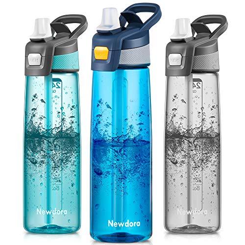 Newdora Botella de Agua Deportiva [750ml/24oz] con Pajita y Cepillo de Limpieza - Libre de BPA y Tapon a Prueba de Fugas para Excursionismo, Ciclismo, Running, Acampada, Gimnasio (Azul Oscuro)
