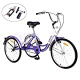 KNUS Adult Tricycle Trikes 7 Speed 3-Wheel Bikes,26 Inch Wheels Cruiser Bicycles with Large Shopping Basket
