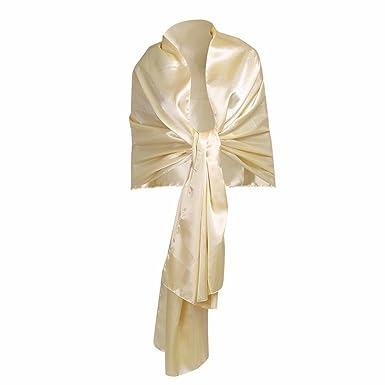 SATIN SILKY WEDDING BRIDAL WRAPS Shawl Wrap Scarf Champagne BRIDESMAIDS Wrap UK
