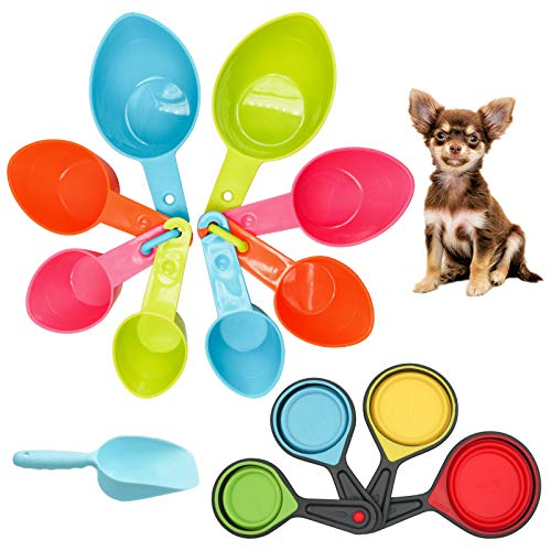 Pet Food Scoop Set, 4 Sizes Plastic Measuring Cups & 4 Sizes Collapsible Silicone Pet Measuring Scoops for Dog Cat Bird Guinea Pig Ferret and Other Small Animals Dry Food Water (Random)