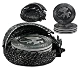 """Ebros Hour of The Dragon Coaster Set 6.5"""" Long Figurine Holder and Four Round Dragon Silhouette Detailed Coasters"""