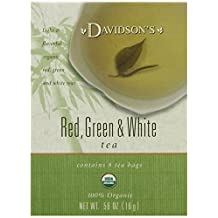 Davidson's Tea Red, Green & White, 8-Count Tea Bags (Pack of 12)