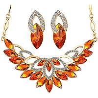 Yupha Vogue Prom Wedding Bridal Gold Jewelry Crystal Rhinestone Necklace Earring Set (Amber)