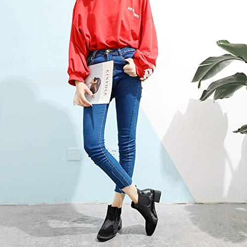 Olici Olici Olici Damen Stiefel, elegant, für Arbeit und Freizeit, Schwarz, lackiert, 4 cm dick, Ferse für Frühling und Herbst 33188c