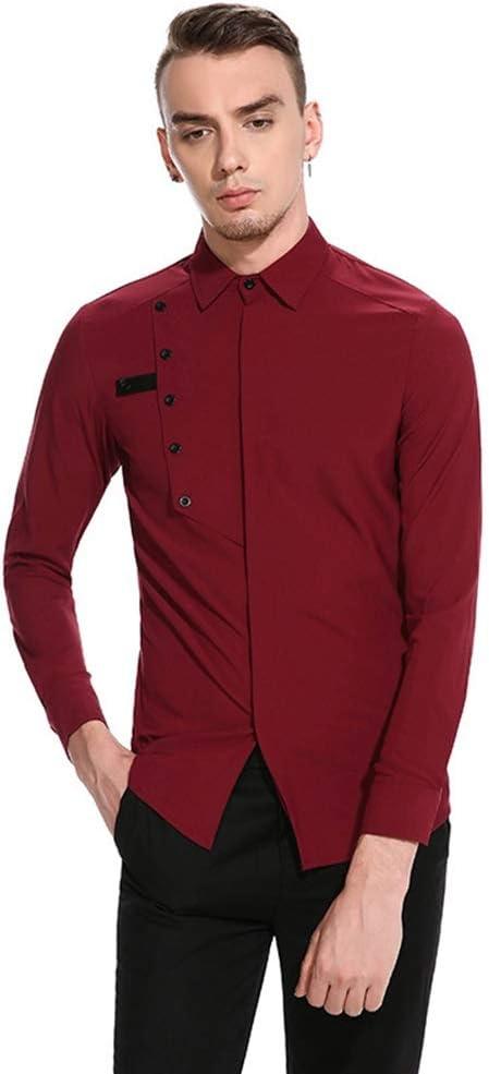 Camisa de Vestir Slim fit para Hombre Botón de Pecho de los Hombres para unirse a la Puerta Oscura Camisa de Solapa de Manga Larga Moda (Color : Vino Rojo, tamaño :