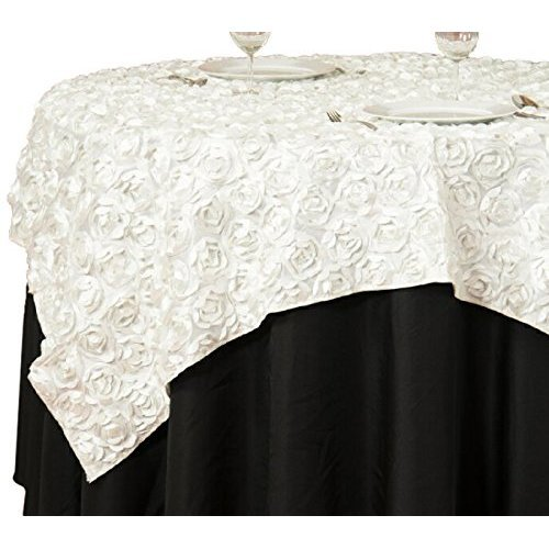 LinenTablecloth Rosette Satin Square Overlay Tablecloth,, used for sale  Delivered anywhere in Canada