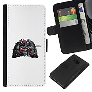 KLONGSHOP // Tirón de la caja Cartera de cuero con ranuras para tarjetas - Las venas del corazón - HTC One M9 //