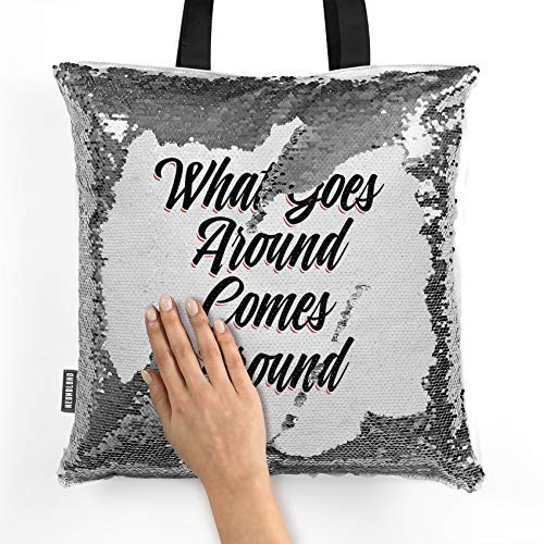 (NEONBLOND Mermaid Tote Handbag Vintage Lettering What Goes Around Comes Around Reversible Sequin)