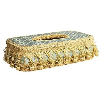 Decorative Tissue Box Cover in Capella Blue with Tassels