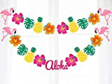 Moon Boat Hawaiian Luau Garland Ribbon Banners - Tropical Hibiscus Flowers Flamingo Summer Pool Party Decorations Supplies