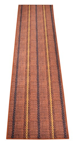 Nature Inspired Printed Runner Rug Slip Resistant TPR Rubber Back Exotic Patterns (Straw Burnt Orange, 1'11 x 6'11) (Runner Rug Orange Burnt)