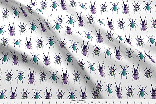 Beetle Fabric - Bug Insect Outside Nature Entomology Stag - by Runcible Spoon Printed on Cotton Poplin Ultra Fabric by The Yard