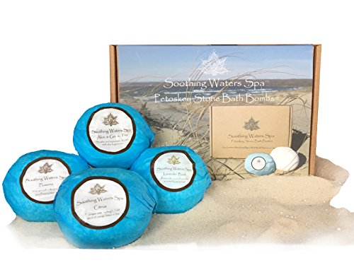 Soothing Waters Spa Petoskey Stone Bath Bombs, Organic & Natural USA Made Lush Bath Bomb Gift Set with essential oils.Best gift basket idea for women, girls, birthdays, Valentine's Day