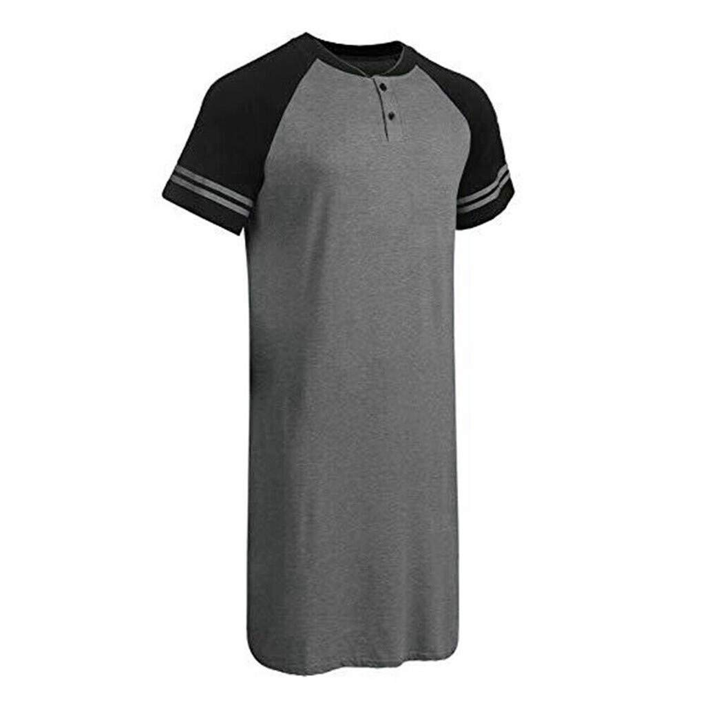 Mens Nightshirt Long Loose Sleepwear Short Sleeve Soft Nightwear Patchwork Sleep Shirt