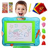 magnet drawing board with stamps - JOYNOTE Large Magnetic Drawing Board for Kids, Colorful Magnet Writing Sketching Pad,Education Toys for Toddlers Learning with 5 Shape Stamps,6 Copy Cards,1 Replacement Pen and 2 Lovely Sticker