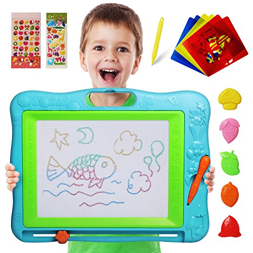 51biFAkCQUL - JOYNOTE Large Magnetic Drawing Board for Kids, Colorful Magnet Writing Sketching Pad,Education Toys for Toddlers Learning with 5 Shape Stamps,6 Copy Cards,1 Replacement Pen and 2 Lovely Sticker