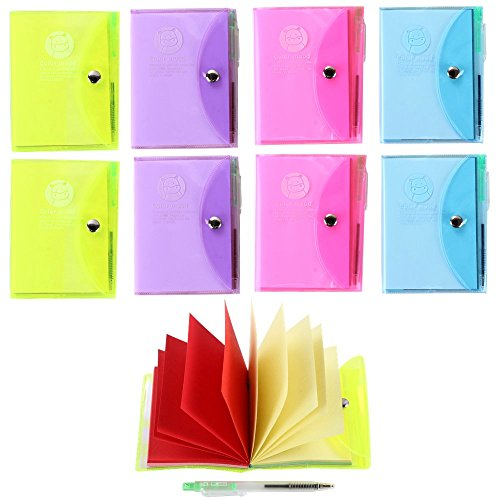 Ipienlee Small Memo Pad Non Stick Note Pads Blank Colorful Pages Notepad Mini Journals Diary with Pen 3.9 inch x 2.8 inch Size Pack of 8