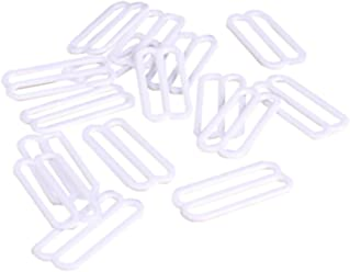 1//4 20 Pieces 10 Pairs Opening 7mm Porcelynne White Nylon Coated Metal Replacement Bra Strap Slide