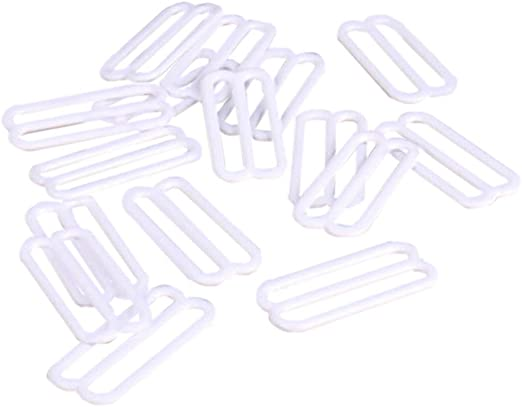 Opening 18mm 4 Pieces 2 Pairs 3//4 Porcelynne White Nylon Coated Metal Replacement Bra Strap Slide Hook