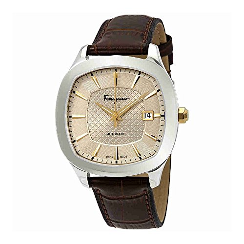 Salvatore Ferragamo Men's 'Ferragamo Square' Swiss Quartz Stainless Steel and Leather Casual Watch, Color:Brown (Model: FFW010017)