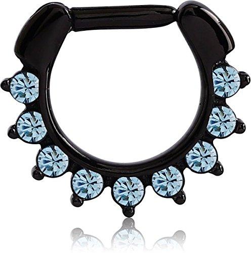 Black Steel - Septum Clicker - Oriental Kristall (Septum Piercing Klick Ring Nasenring)