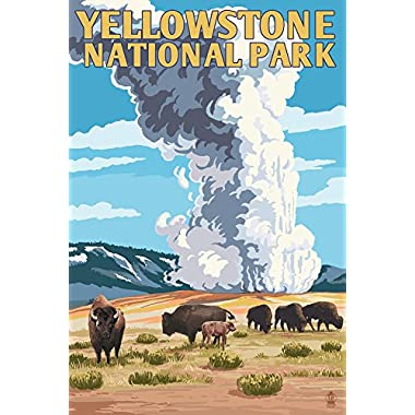 Yellowstone National Park - Old Faithful Geyser and Bison Herd (16x24 Giclee Gallery Print, Wall Decor Travel Poster)