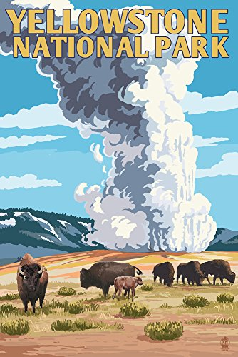 - Yellowstone National Park, Wyoming - Old Faithful Geyser and Bison Herd (9x12 Art Print, Wall Decor Travel Poster)