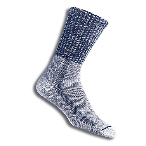 Thorlos Unisex LTH Light Hiking Thick Padded Crew Sock, Navy, Large