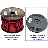 GS Power 16 Ga Gauge 100 Feet CCA Copper Clad Aluminum Red Black Bonded Zip Cord Speaker Cable for Car Audio Radio Amplifier Remote Home Stereo LED Light Wiring (Available in 40 ft or 100 ft roll)