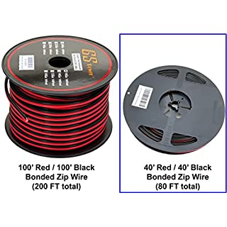 Sale Off GS Power 16 Ga Gauge 100 Feet CCA Copper Clad Aluminum Red Black Bonded Zip Cord Speaker Cable for Car Audio Radio Amplifier Remote Home Stereo LED Light Wiring (Available in 40 ft or 100 ft roll)