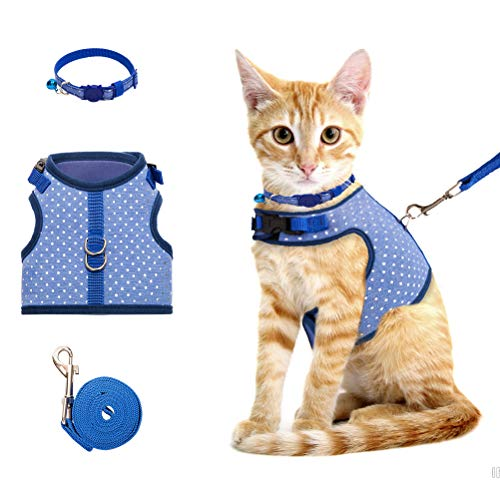 Collar Harness - BINGPET Cat Harness and Leash for Walking Escape Proof, Adjustable Pet Harness for Small, Medium Large Cats with Collar