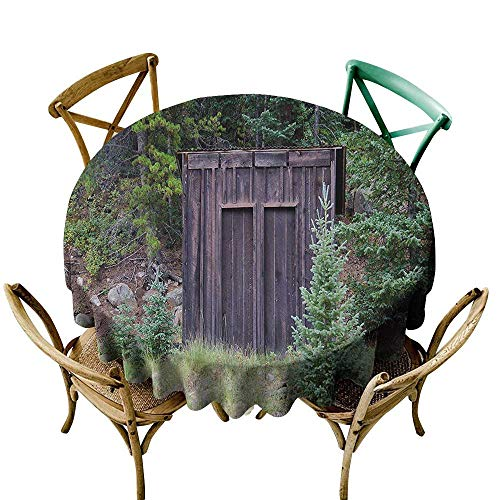 (Round Outdoor Tablecloth Outhouse Farm Life House Wooden Door of Cottage Hut in Woodland Leaves Art Print Resistant/Spill-Proof/Waterproof Table Cover 60 INCH Dark Brown and Green)