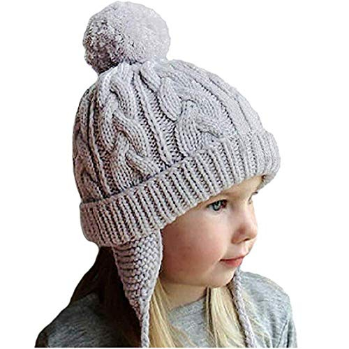 Crochet Earflap Pilot Hats Rabbit Ears Beanie Cap Winter Warm Knit Caps for Toddlers Baby Girls and Boys - Crochet Rabbit