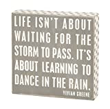 Primitives by Kathy Gray Box Sign, 7.75-Inch by 7.75-Inch, Dance in The Rain