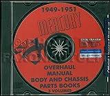 1949-1950-1951 Mercury CD-ROM Repair Shop Manual & 49-50 Parts Books