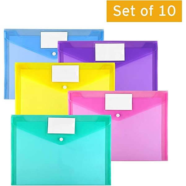 Documents Poly String Envelope A4 Work or School - Expandable Plastic Paper Wallets in 3 Colors -Translucent File folders for Certificates Papers Suitable for Home 15 Pack Booklets