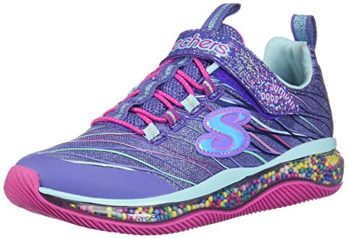 Skechers Kids Girl's Skech-AIR JUMPIN'DOTS Shoe, Blue/Multi, 3 Medium US Little Kid (Skechers Memory Foam Shoes Girls)