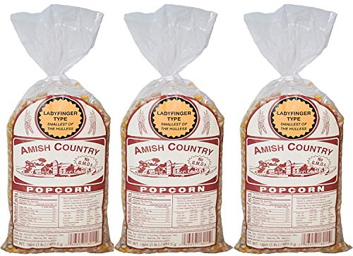 Amish Country Popcorn - Ladyfinger Popcorn Gift Set - Old Fashioned, Non GMO, Gluten Free, (3) 1 LB Bags - with Recipe Guide -