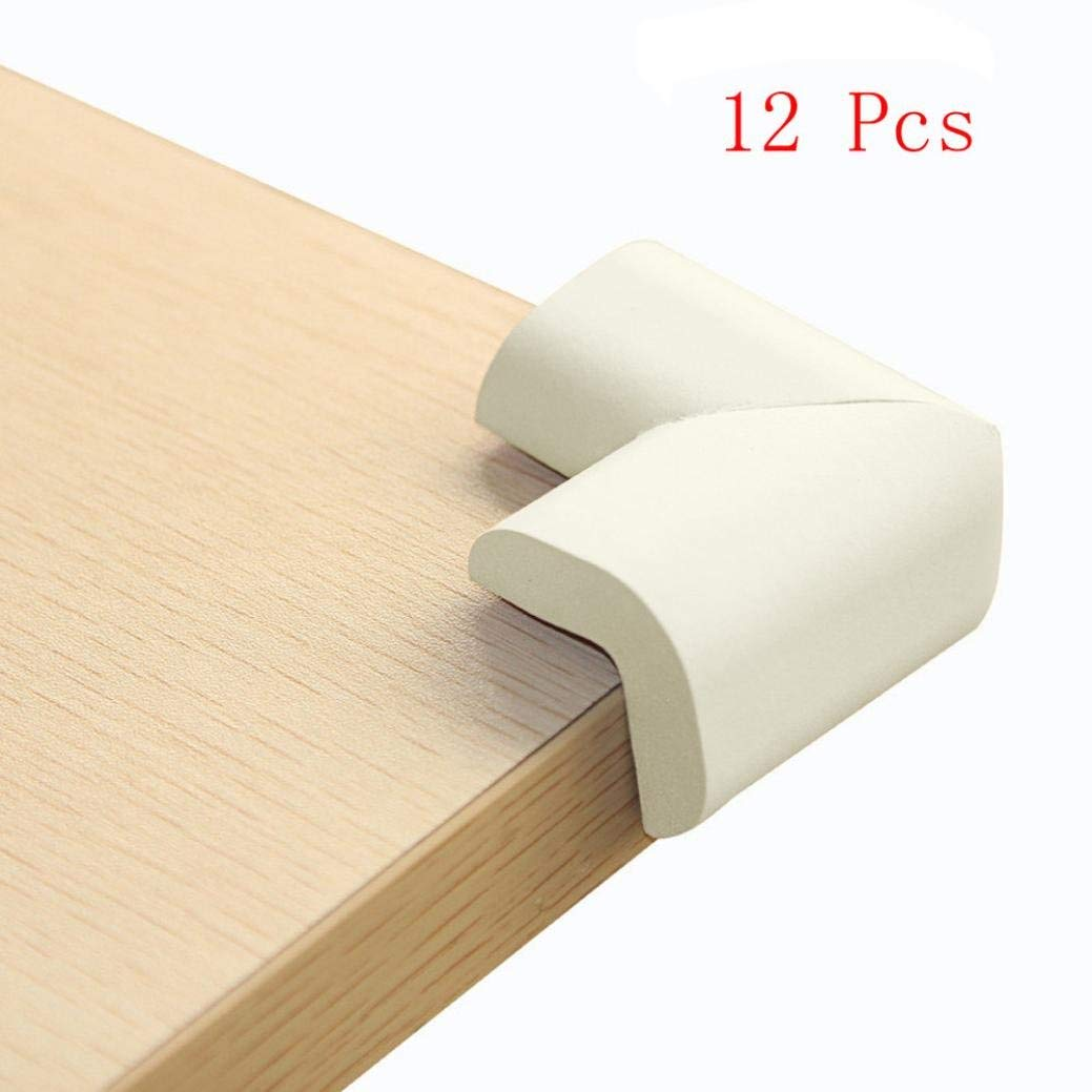Premium Quality 12 Packs Adhesive Corner Protector, Glass Table Desk Edge Cushion Guard Bumper for Toddler Baby Safety White